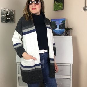 Gap Striped Oversized Open Cardigan Grey | Blue XS